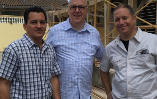 Touring the Western Cuba Baptist Convention's camp in Matanzas are, from left, Lazaro Cue Duarte, camp director; Tommy Green, executive director-treasurer, Florida Baptist Convention, and David Gonzalez, WCBC volunteer coordinator.