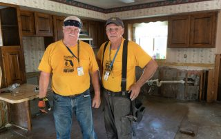 FBDR vols Danny Powell, Olive Baptist Church in Pensacola, and Jim Bruce, Fellowship Baptist Church in Tallahassee clean a St. Augustine home.