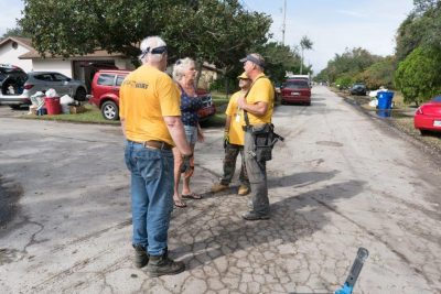 Danny Powell and Jim Bruce respond to questions from a St. Augustine Beach resident whose home was flooded in the aftermath of Hurricane Matthew.