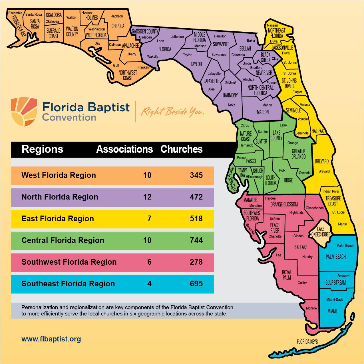 Florida Regions Map.Sbm Oks Sixth Ministry Region Historic Decisions Florida Baptist