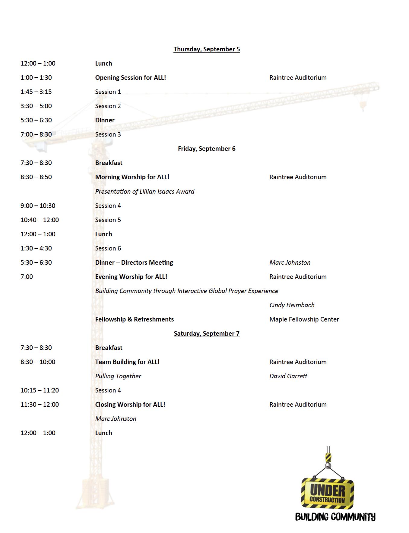 ELM 2019 Schedule, English Language Ministry