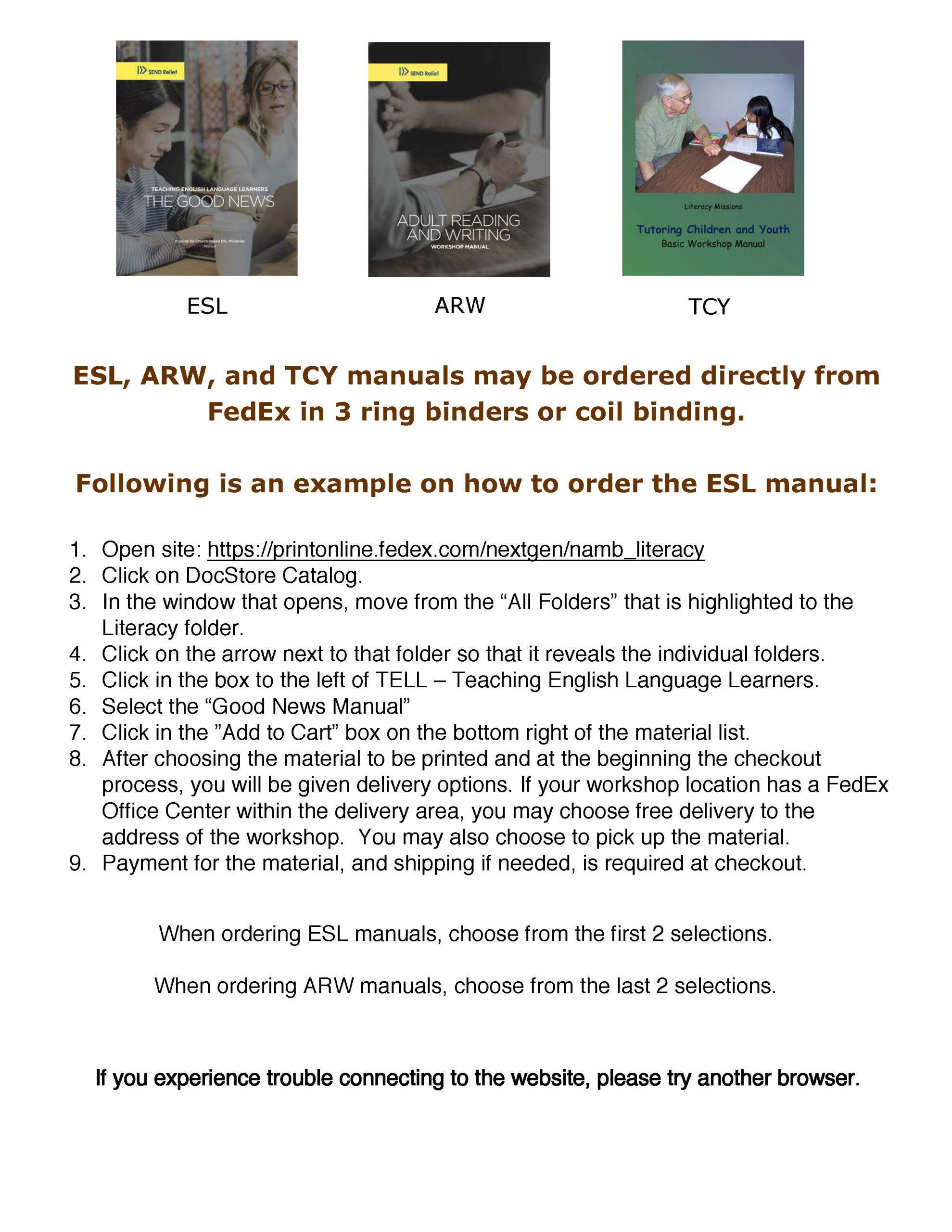 TELL Manual, Community Ministries, ESL, ELS Manual