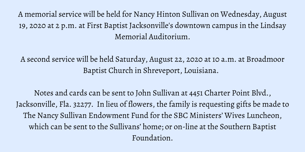 Nancy Sullivan Encourager Mentor Who Dearly Loved Ministers Wives Dies Florida Baptist Convention Fbc