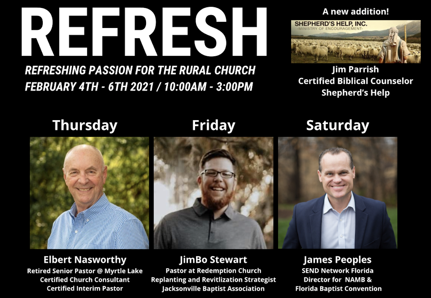 Refresh Conference, Jimbo Stewart, Elbert Nasworthy, James Peoples